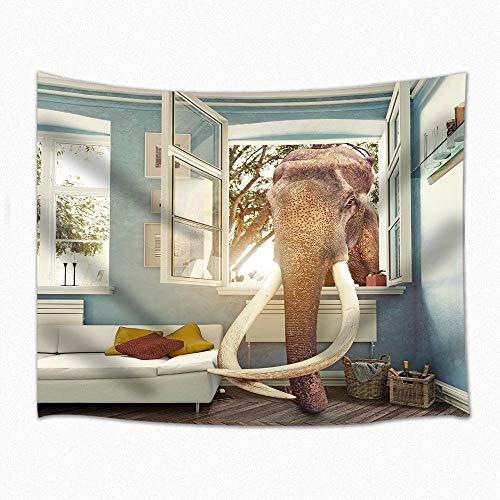 XURANFANG Wild Animal Decor Tapisserie Elefant Resturant Wandbehang für Schlafzimmer Wohnheim 71 X 60 Zoll, 150 x 100 cm