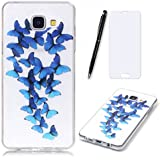 Lotuslnn Samsung Galaxy A3 2016 Coque,Samsung Galaxy A3 2016 /SM-A310 TPU Silikon Etui Transparent Housse Cases and Covers (Coque+ Stylus Pen + Tempered Glass Protective Film)- Blue Butterfly