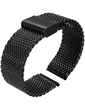Uhr Band - SODIAL(R)Neu 24mm Uhrenarmband Haifisch Netz Band aus Doppel-Haken Stahl Armband - Schwarz