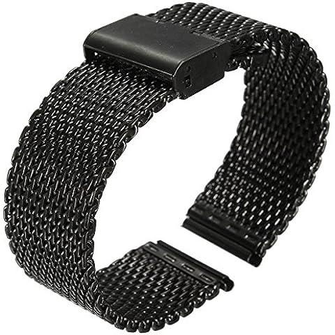 Banda de reloj - SODIAL(R) Nueva 18mm Correa de reloj de malla de tiburon banda inoxidable de doble cierre de acero pulsera negra
