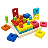 Lewo Educational Toy Wooden Sorter Puzzle Stack Sort Board Geometric Shapes for Kids