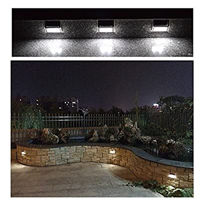 Garden mile® 6 PACK OF Stainless Steel Garden Solar Powered Garden Lights Outdoor LED Stairway Lighting Or For Driveways Fences and walls,