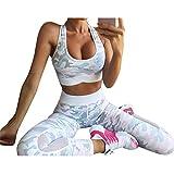 Trainingsanzug Damen Sportanzug Frauen Yoga BH + Leggins 2 Teilig Fitness Anzüge Joggeranzug Sportswear Bekleidungssets Elastizität Kleidung Sets M Juleya
