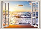 3D-Wandbild Geöffnetes Fenster - großformatig aus hochwertigem Vinyl - wiederverwendbar - Wandaufkleber Aufkleber - Wandtattoo Fenster - 3D fototapete strand und meer Sonnenuntergang 85 x 115 cm