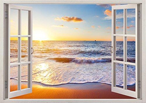 ... Aus Hochwertigem Vinyl   Wiederverwendbar   Wandaufkleber Aufkleber    Wandtattoo Fenster   3D Fototapete Strand Und Meer Sonnenuntergang 85 X 115  Cm