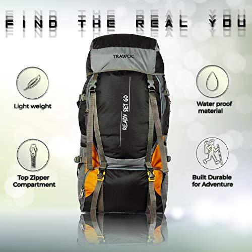 TRAWOC 55 Ltr Travel Backpack for Outdoor Sport Camping Hiking Trekking Bag Rucksack, Black Image 5