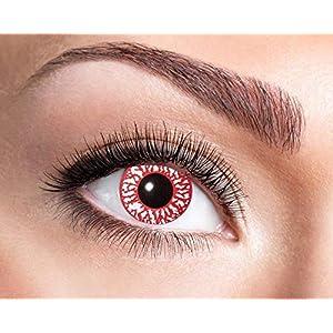 Farbige Wochen Kontaktlinsen Rot mit etwas Weiß Halloween Karneval Party