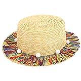 Amorar Eltern-Kind Bunte Quaste flache Kappe Hut kleine Ball Sonnenhut Sommer Hüte Sonnenblende Cap für Sommer Strand Urlaub Reisen