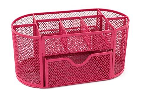 icase4u organizador de escritorio Organizador de mesa de gran capacidad portalápices perfecto para organizar artículos de oficina o papelería (rosa)