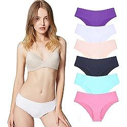 Bragas de Mujer sin Costuras Señoras Ropa Interior Secret Hug Sexy Low Rise Bikini Bragas, Pack de 6 M