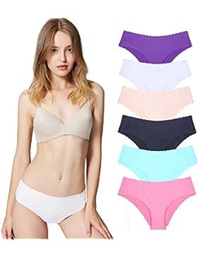 Bragas Pantalones de Mujer sin Costuras Señoras Ropa Interior Sexy Low Rise Bikini Bragas, Pack DE 3/6