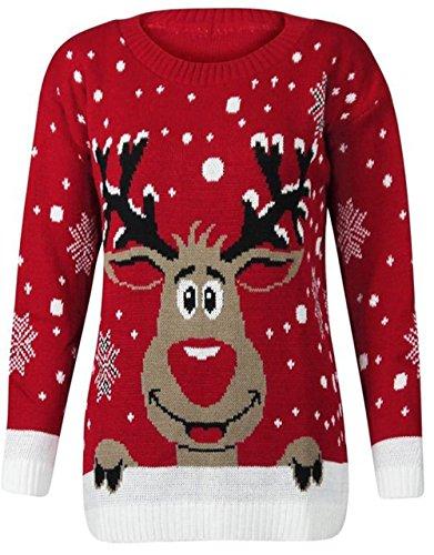 Fast Fashion Frauen Pullover Langarm Stern Twin Rudolph Neuheit Weihnachts (Schlechte Weihnachten Pullover)