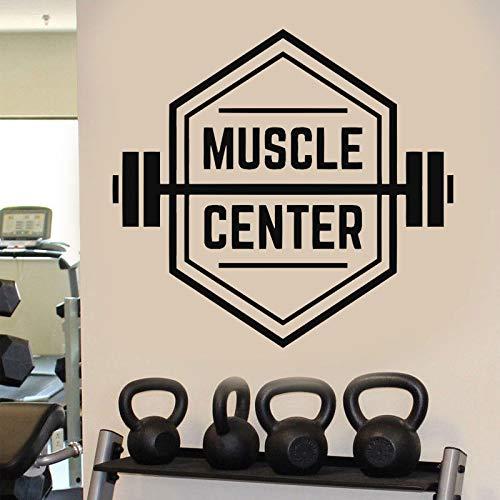 Tianpengyuanshuai Muskelzentrum Gym Zeichen Übung Fitness Gewichte Wandaufkleber Wohnkultur Innenfenster Aufkleber Fitness81x75cm
