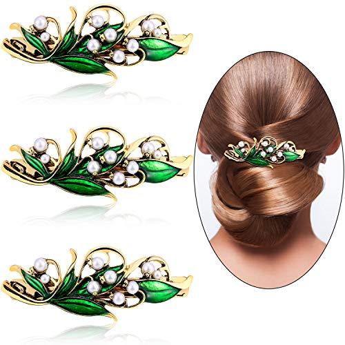 3 Stücke Perle Haarspange Retro Blatt Perle Haarspangen Haarspangen für Frauen Mädchen Haar Kollokation