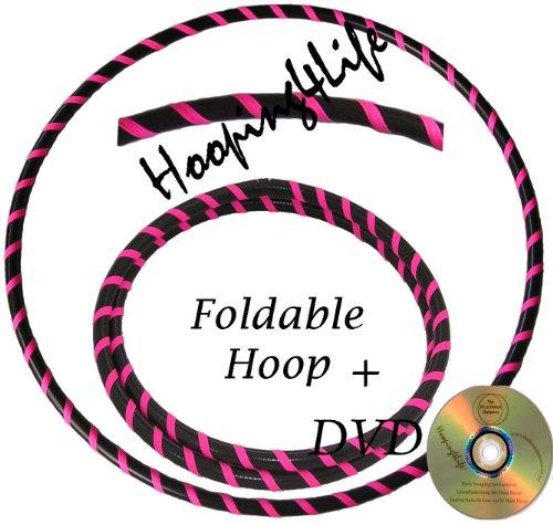 Hooping4Life Faltbarer Schwarz u. fluoreszierender Rosa Hula Hoop Reifen für Training u. Tanz; Größe ca. 101 cm, Gewicht ca. 625 g