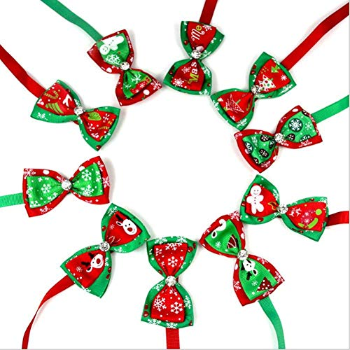 H-ONG Pet Bow Tie Collar Dog Christmas Collar Tie Adjustable Puppy Cat Bow Ties Necktie Christmas Xmas Decoration Collars Lovely Necklace Bowtie Party Costume 10pcs