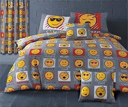 Emoji LOL Chill SNOOZE Cheeky gris jaune rouge Mélange de coton King Size HOUSSE DE COUETTE