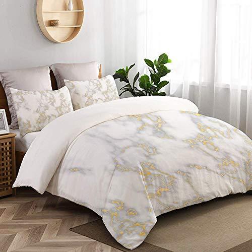 VORMOR 3 teilig Bettbezug Gold Marmor Textur Nahtlose Hintergrund Glitzer Mikrofaser Bettdeckenbezug 135x200cm,Reißverschluss,mit 2 Kopfkissenbezüge 50x80cm