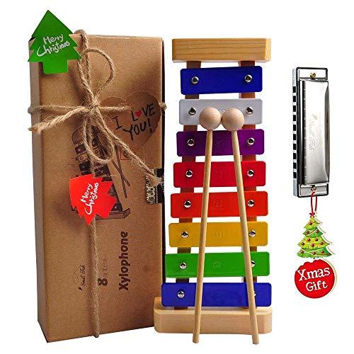 Holz Xylophon für Kinder: Perfekt Glockenspiel für kleine Musiker – Erzeugt magische Klänge mit kleinen Händen; Ein Schlaginstrument mit Metalltasten, kindersicheren Schlägeln und Liederkarten