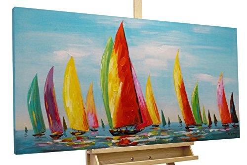 Wandbild 70x140cm Schiffe Handgemalt Leinwand GERAHMT Acryl Gemälde Antiquitäten & Kunst