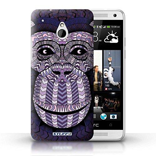 Kobalt® Imprimé Etui / Coque pour HTC One/1 Mini / Loup-Sépia conception / Série Motif Animaux Aztec Singe-Pourpre