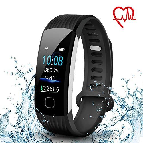 AISIRER Fitness Armband Uhr Fitness Tracker mit Pulsmesser Wasserdicht IP67 0.96 Farbbildschirm Schrittzähler Schlafmonitor Vibrationsalarm Anruf SMS Whatsapp Beachten für IOS Android Handy