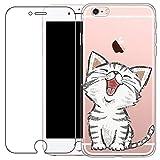 Coque iPhone 6 Plus, Coque iPhone 6S Plus [avec film de protection d'écran en verre trempé], Cute TPU Souple Etui de Protection [absorbant les chocs] [Ultra mince] pour iPhone 6 Plus / 6S Plus, Chats