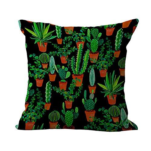 MEHOUSE Taies d'oreiller,Coton Lin Blend DéCoratif Housse de Coussin Cactus Tropical Coussin Taie d'oreiller Embroidery Throw Pillow Case 45X45 CM