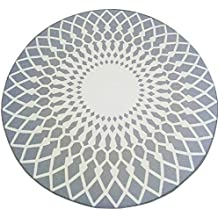 Elegante alfombra redonda en blanco y negro gran salón de la personalidad mesa de centro alfombra grande alfombra del dormitorio lavable cabello suave, pisado muy cómodo ( Color : Gray , Size : 160CM )