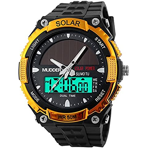 Hombres deportes Energía Solar 50M Impermeable al Aire Libre LCD Movimiento Militar Reloj Oro