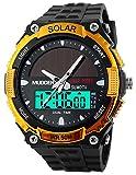 Orrorr Sport Solarstrom 50M Wasserdicht Outdoor LCD Bewegung Einsatzuhr Gold