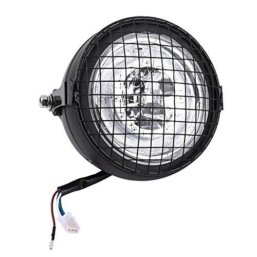 Faro a LED per moto, 6.5'Universal Motorcycle High Brightness Fari a LED Proiettore con griglia metallica Coperchio di montaggio laterale e staff