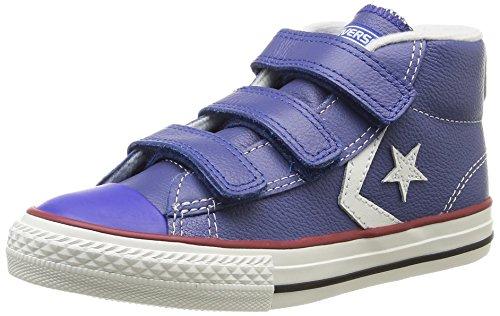 Converse Star Player 3V Leather Mid, Baskets mode mixte enfant Bleu (53 Bleu/Ecru)