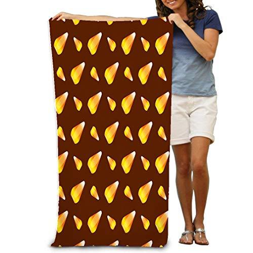 Xunulyn Large Beach Towel Pool Towel,Swim Towels for Bathroom,Gym,and Pool 31 In X51 In Halloween Candy Corn Holiday Horror Wallpaper c ca