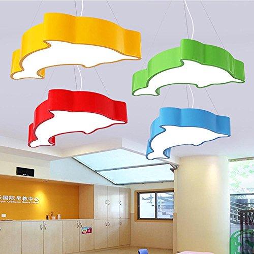 Kinderzimmer-kronleuchter Schattierungen (SSLW Deckenleuchte Kronleuchter führte Cartoon kreative Stilvolle Kinderzimmer Dolphin Modellierung Lampe warm, red 60 * 35 * 8 (24w), White Light)