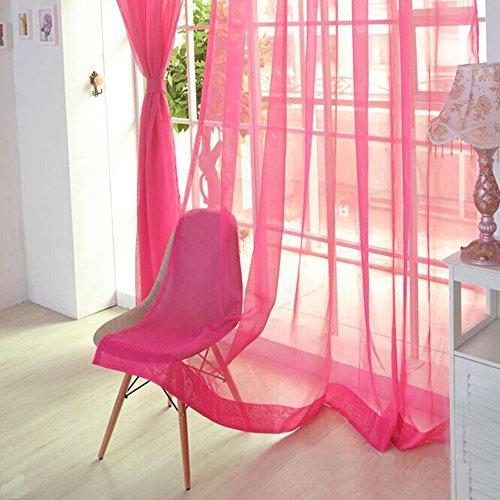 DODOING Transparente Einfarbige Gardine Tüll Voile, 2 PCS-reine Farbe Tulle Türfenstervorhang drapieren Panel-Sheer-Schal Volants 200x100cm (Rr-panel)