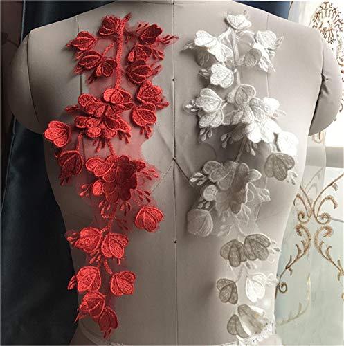 Guipure 3D Stickerei Spitze Applikation Motiv Blatt Patches Applikation Nähen Hochzeit Brautkleid Abendkleid Rock Kostüm DIY Handwerk 1 Stück gebrochenes weiß