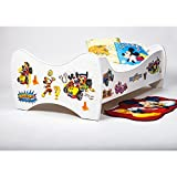 BEBEGAVROCHE Pack 8en1Bett Junior Mickey Mouse mit Matratze + Kopfkissen + Bettbezug + Kissenbezug + Bettbezug + Spannbettlaken