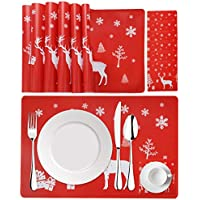 Fansport Winter Holiday Christmas Placemat Washable Table Place Mat Sets of 6 plus 6 Cup Mats for kids-Elk, Christmas Tree, Snowflake Printed