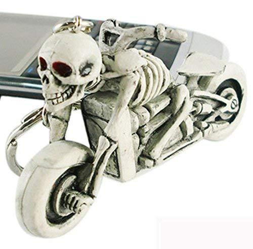 Schlüsselanhänger Motorrad mit Skelett, weiss/grau Schlüssel Anhänger Skull Bike, wadle-shop (Skelett-shop)