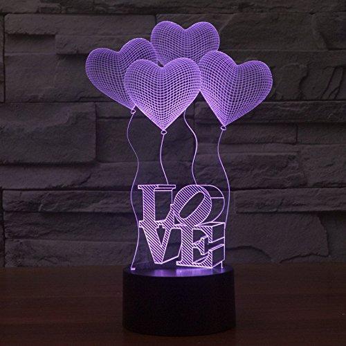 Tippen Sie auf vier bunten Acryl Stereo LOVE 3D-Lichter von Diwali gradient Lampe nachtlicht (Tippen Led-licht)