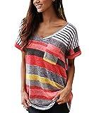 Womens Summer Striped T Shirts V Neck Blouse Short Sleeve Tops