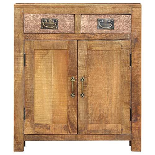 Tidyard Raues Mangoholz Massiv Sideboard mit 2 Schubladen 2 Türen Kommode Beistellschrank Mehrzweckschrank Standschrank Anrichte Schrank 65x30x75cm