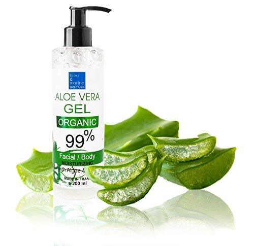 Gel d'Aloe Vera Organique 200 ml Excellent hydratant Visage & Corps Cheveux - Calmant Après...