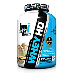 BPI Sports Whey-HD Ultra Premium Protein Powder- Vanilla Caramel - 4.5 Lbs