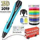 HQKJ 3D Penna Stampa Ezgogo di Disegno a Penna per Bambini Adulti con 12 Colori a 120 Piedi Penna a Penna Professionale 3D a filamento di PLA con Display LCD e Modello a Forma di Razzo