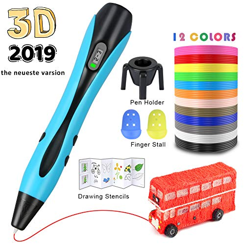 3D printing pen, 3D Smart Pen Pen Pen Printing Stereoscopic Trash ,PLA filament 3m 120 color gift for Children and Adults