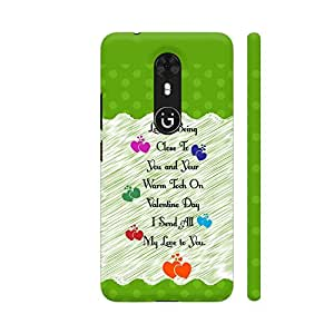 Colorpur Love Is Being Quote On Green Polka Dots Artwork On Gionee A1 Cover (Designer Mobile Back Case) | Artist: Designer Chennai