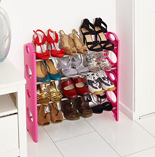 Vinsani 4 Tier Pink Free Standing Shoe Rack Stand Storage Organiser Shelf by Vinsani