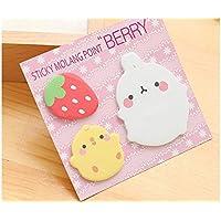 Huyizhi Creativo Conejo de dibujos animados Nota adhesiva para la clasificación Nota linda mensaje (rosa) para sus suministros officce